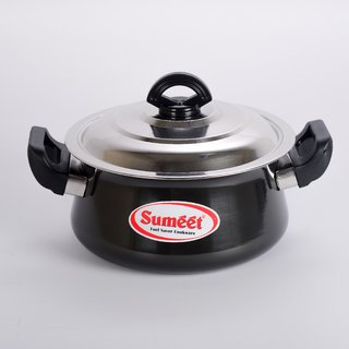 Sumeet 3mm Hard Anodised Handi With (S.S. Lid) (1.25 Ltr) No. 11