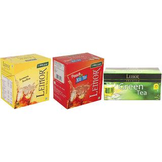 Combo Pack of 1 Lemor Lemon  1 Peach flavoured Instant Ice Tea (10 sachet pack each) and Pure Green Tea 1 x 25 Tea Bag