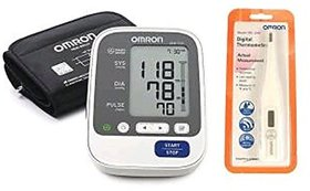 OMRON HEM-7130-L AUTOMATIC BP MONITOR WITH 5 YEARS EXTENDED WARRANTY AND DIGITAL THERMOMETER OMRON MC-246 COMBO.
