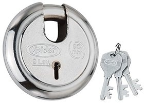 Spider Steel Solid Pad Lock With 3 Steel CP Keys (90 MM) (Heavy Body  High Security Pad Lock)