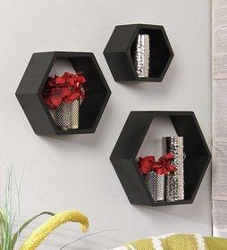 sunshinewood 3 rack shelves haxagon  home decor living wall shelf unit - 3