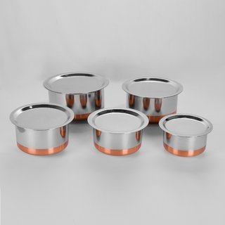 Sumeet 5 Pcs Stainless Steel Copper Bottom Cookware/ Container / TopeSet With Lids Size 10 To 14