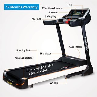 Healthgenie Commercial Motorized Treadmill 4612C with Auto Inclination Lubrication 2.0 HP AC Motor Max Speed 16 Kmph