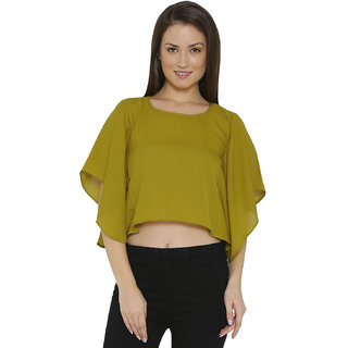 Chimpaaanzee Women Faux Georgette Yellow Top