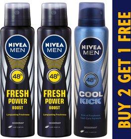 Buy 2 Nivea Power Boost Deo  Get 1 Nivea Cool Kick Deodorant Free