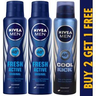 Buy 2 Nivea Fresh Active Original Deo  Get 1 Nivea Cool Kick Deodorant Free
