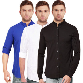 Black Bee Chinese Collar Poly-Cotton Shirts For Men Pack of 3