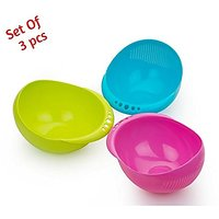 BMS Lifestyle 3 pcs Multipurpose Plastic Rice Pulses Fruits Vegetable Noodles Pasta Washing Bowl  Strainer Washer and C