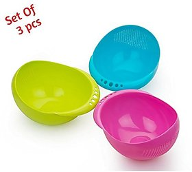 BMS Lifestyle 3 pcs Multipurpose Plastic Rice Pulses Fruits Vegetable Noodles Pasta Washing Bowl  Strainer Washer and C