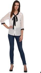 Fashion meee White georgette neck tie 3/4 sleeve top
