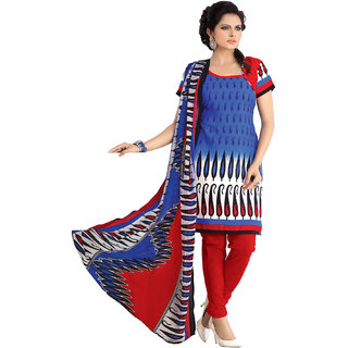 Florence Blue Red Polycotton Printed Dress Material