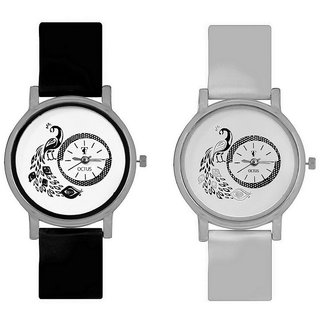 KK Sales NEW  Black And White MORE  Round Dial Analog Watches Combo For Girls And Womens