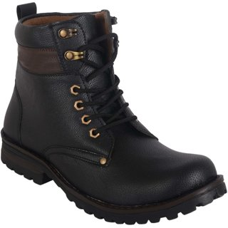 Men's Black TPR Sole Synthetic Lace-up casual Boots by Woakers