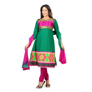 Florence Green Cotton Embroidered Dress Material (Unstitched)