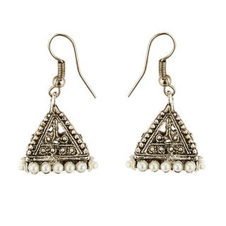 Anishop Oxidised Silver Alloy Jhumkis For Women