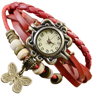 Butterfly Vintage Leather Bracelet Watch for Girls (Red)