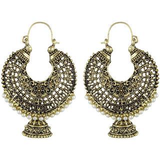 Anishop Oxidised Gold Alloy Chandelier Earrings For Women