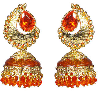 Anishop Oxidised Orange Alloy Jhumkis For Women