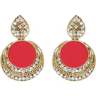 Anishop Oxidised Red Alloy Dangle Earrings For Women