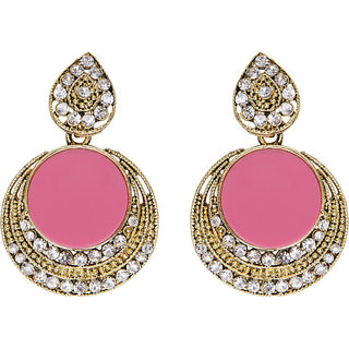 Anishop Oxidised Pink Alloy Dangle Earrings For Women