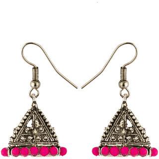Anishop Oxidised Pink Alloy Jhumkis For Women