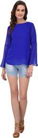 Fashion meee Blue georgette flair sleeve top