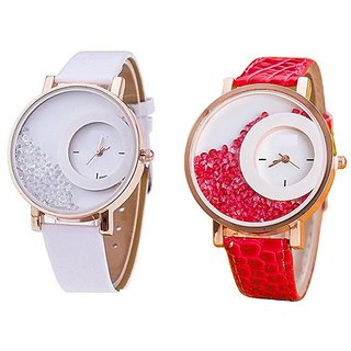 Mxre Analogue Diamond White Dial Combo Watch for Girls and Women Pack Of 2 (Mxre-White-red)