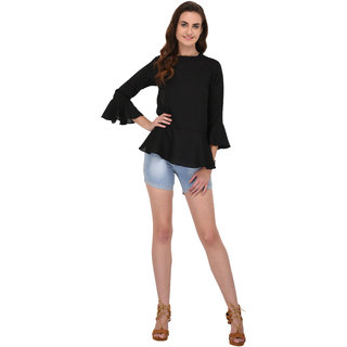Fashion meee Black georgette flaired sleeve top