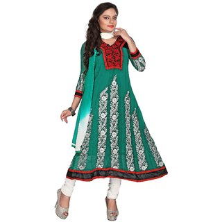 Florence Green Georgette Embroidered Dress Material