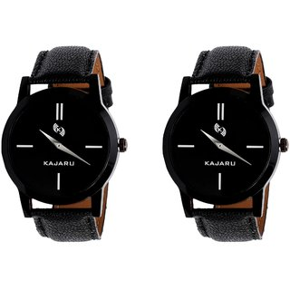 Kajaru KJR-7 Round Black Dial Analog Watch Combo for Men