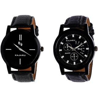 Kajaru KJR-7,9 Round Black Dial Analog Watch Combo for Men
