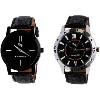 Kajaru KJR-7,10 Round Black Dial Analog Watch Combo for Men