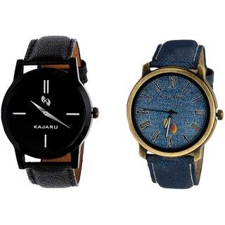 Kajaru KJR-7,11 Round Black And Blue Dial Analog Watch Combo for Men