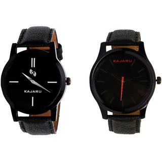 Kajaru KJR-7,12 Round Black Dial Analog Watch Combo for Men