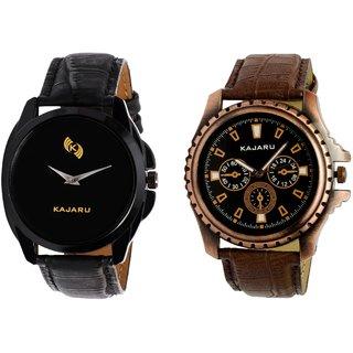 Kajaru KJR-8,1 Round Black Dial Analog Watch Combo for Men