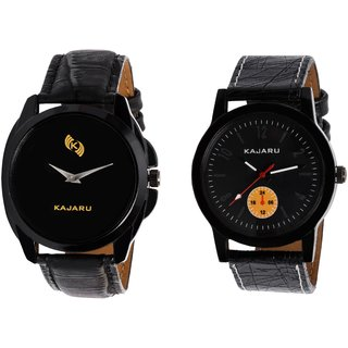 Kajaru KJR-8,2 Round Black Dial Analog Watch Combo for Men