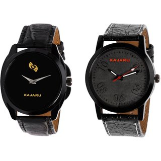 Kajaru KJR-8,3 Round Black Dial Analog Watch Combo for Men