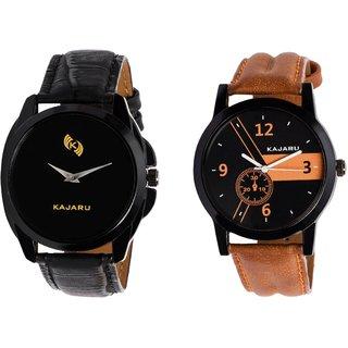 Kajaru KJR-8,4 Round Black Dial Analog Watch Combo for Men