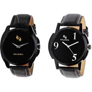 Kajaru KJR-8,5 Round Black Dial Analog Watch Combo for Men