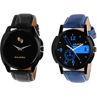Kajaru KJR-8,6 Round Black And Blue Dial Analog Watch Combo for Men