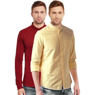 e01467e74cb Buy Black Bee Collar Regular Fit Poly-Cotton Shirt for Men Combo of 2  Online - Get 10% Off
