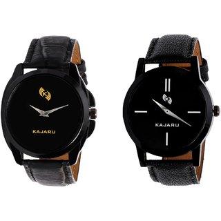 Kajaru KJR-8,7 Round Black Dial Analog Watch Combo for Men