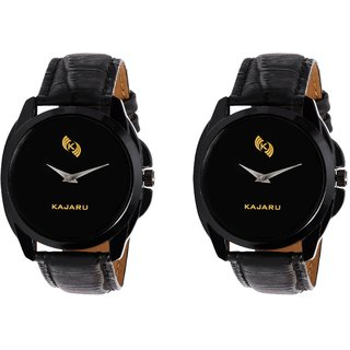 Kajaru KJR-8 Round Black Dial Analog Watch Combo for Men