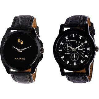 Kajaru KJR-8,9 Round Black Dial Analog Watch Combo for Men