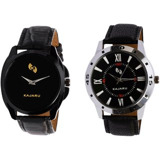 Kajaru KJR-8,10 Round Black Dial Analog Watch Combo for Men