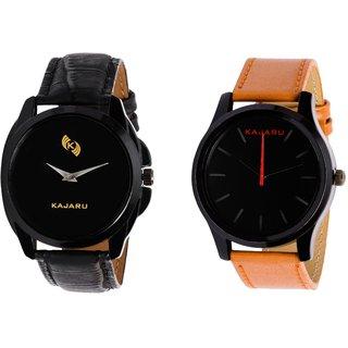Kajaru KJR-8,13 Round Black Dial Analog Watch Combo for Men
