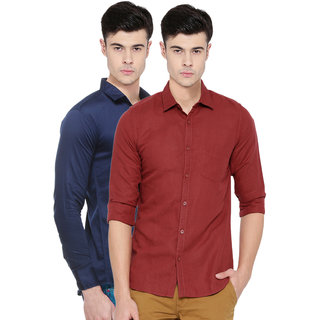 Black Bee Solid Regular Fit Poly-Cotton Shirts For Men Set of 2