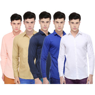 Balino London Solid Regular Fit Shirts For Men (Set of 5)
