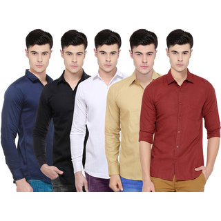 4b13f172b05 Buy Black Bee Solid Regular Fit Poly-Cotton Shirts For Men Set of 5 Online  - Get 32% Off