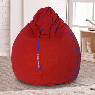 Keira Organic cotton XXXL Khadi Bean bag cover without beans by Urbanloom (Colour - Royal Red)